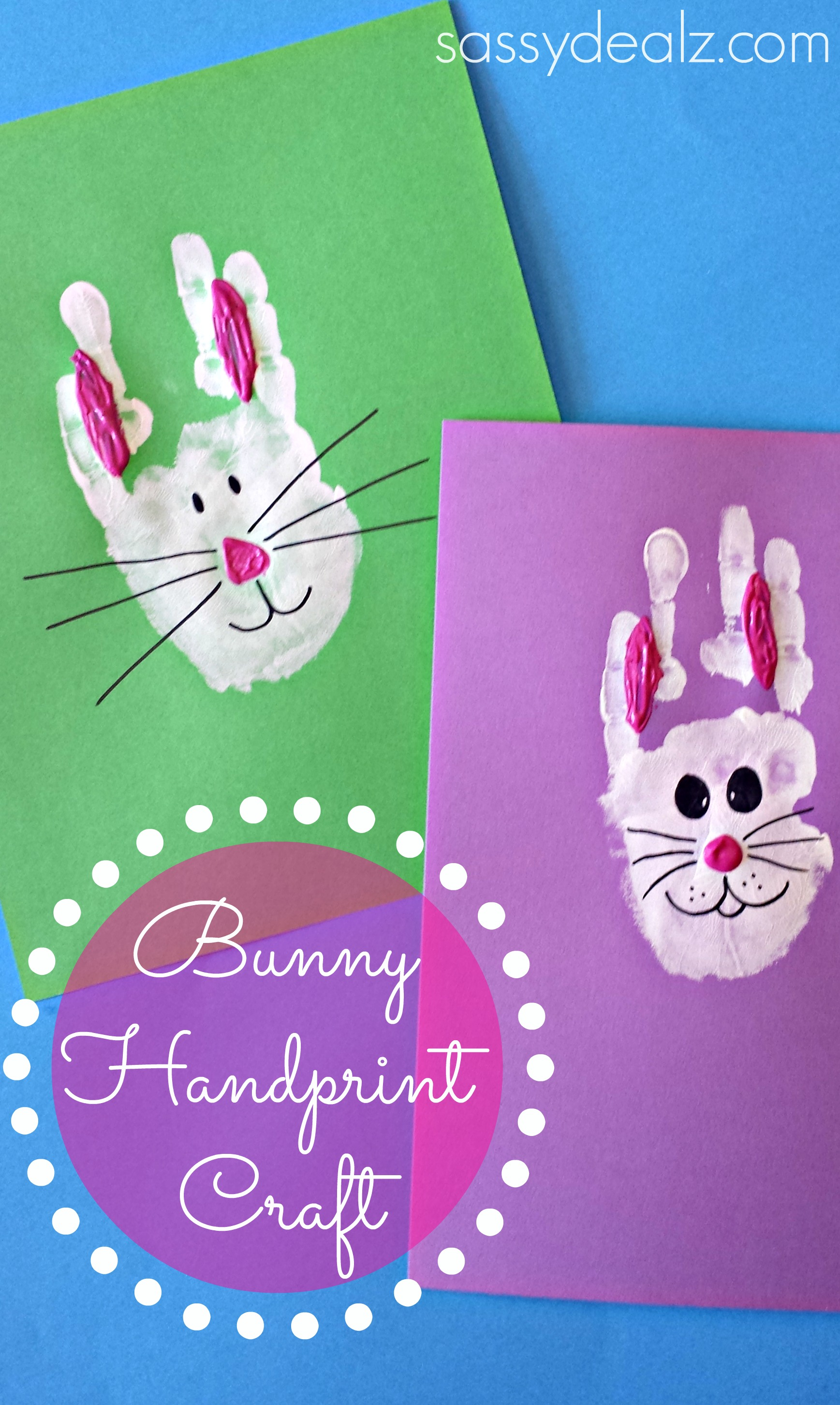 Easter Card Ideas For Children To Make Bunny Handprint Craft Easter The Easter Bunny Org